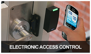 image of an electronic door lock being accessed via a smartphone