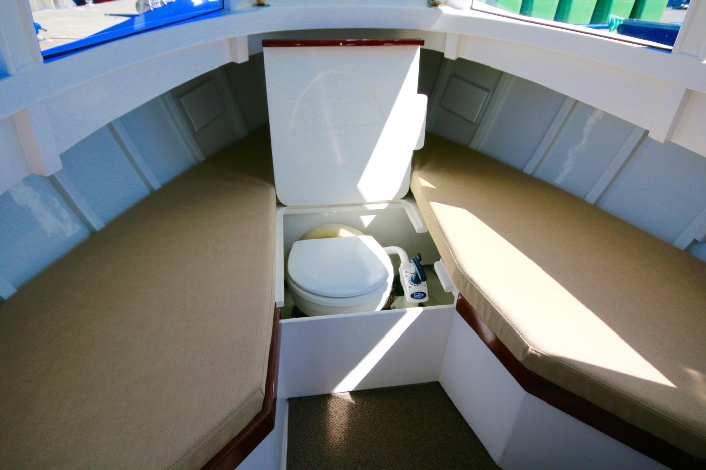 1980 Bill Garden Pocket Cruiser 20, Marine head hidden in V berth