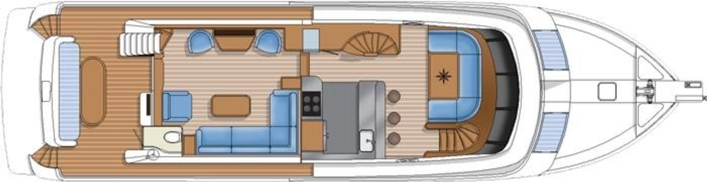 2016 Hampton Endurance 686 LRC Skylounge, Main Deck Layout