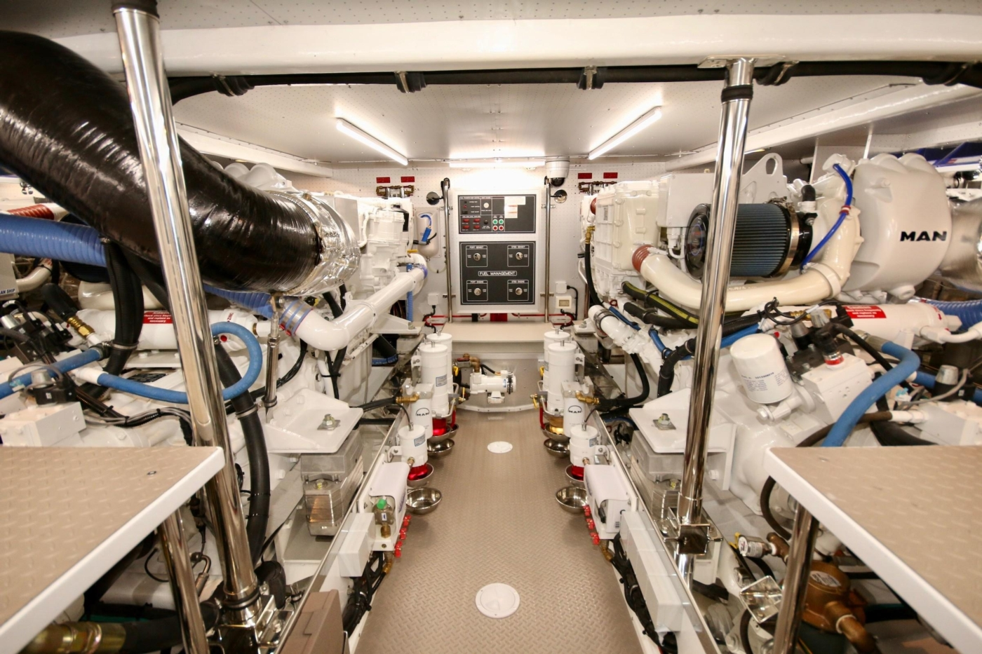 2020 Fleming 65 Pilothouse In Stock, Engine Room Forward View