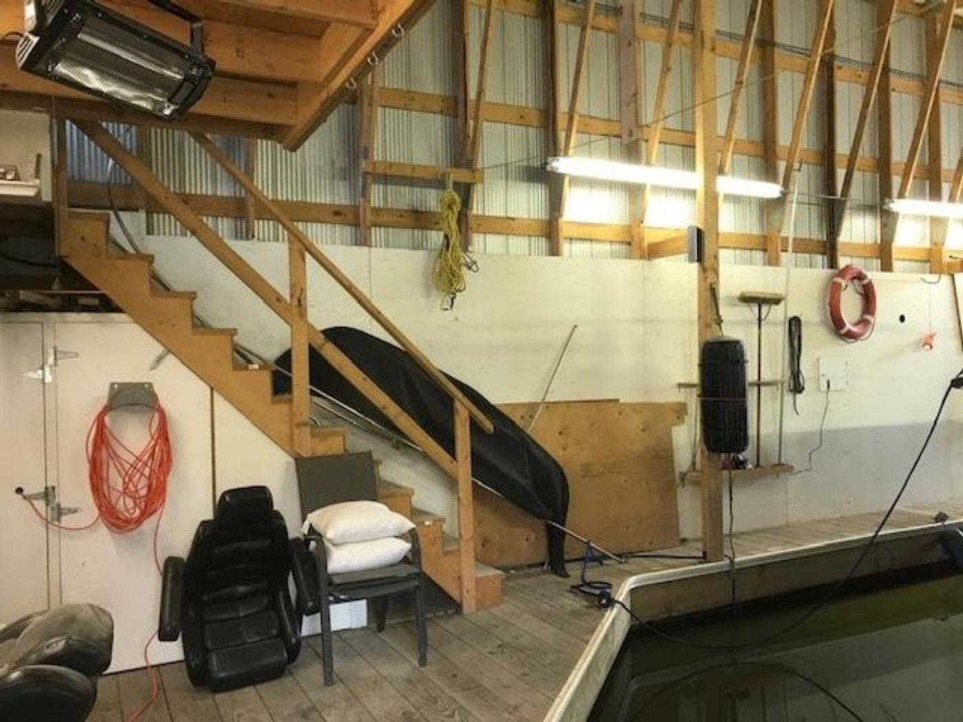2008 Custom 60 Boathouse, Stairs to Mezzanine