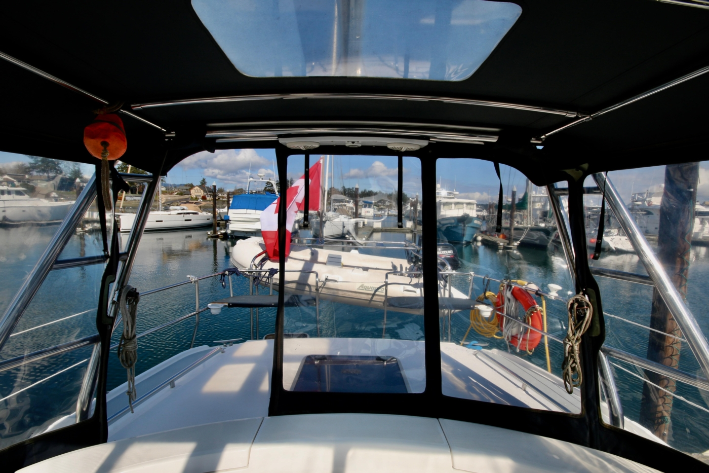 2004 Hunter Passage 420, The view aft from the cockpit