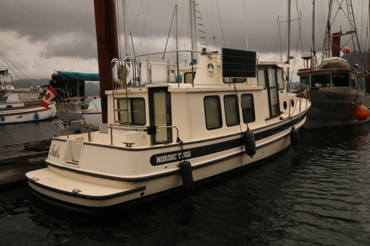 1999 Nordic Tugs 32, Starboard Side: note Solar Panels