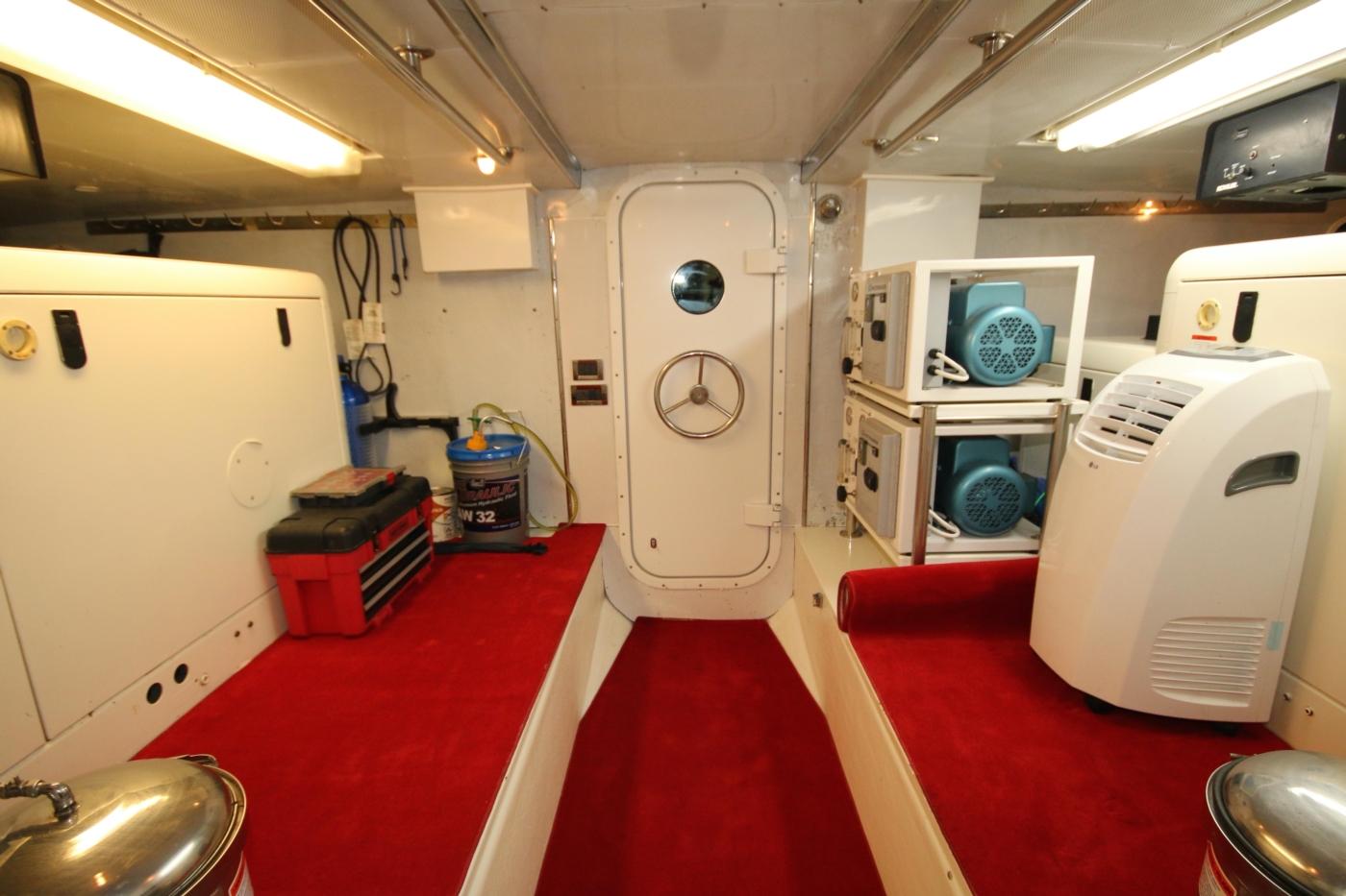 1997 Nordlund Motoryacht, Generator room door to lazarette