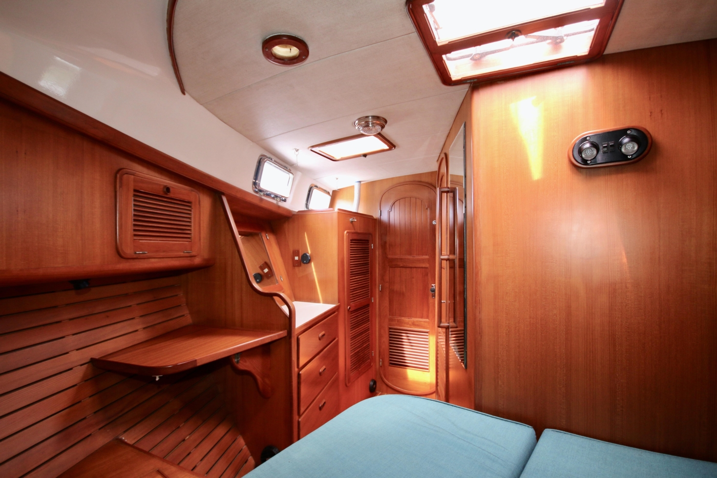 1996 Tanton 45 Offshore, Fore cabin aft view
