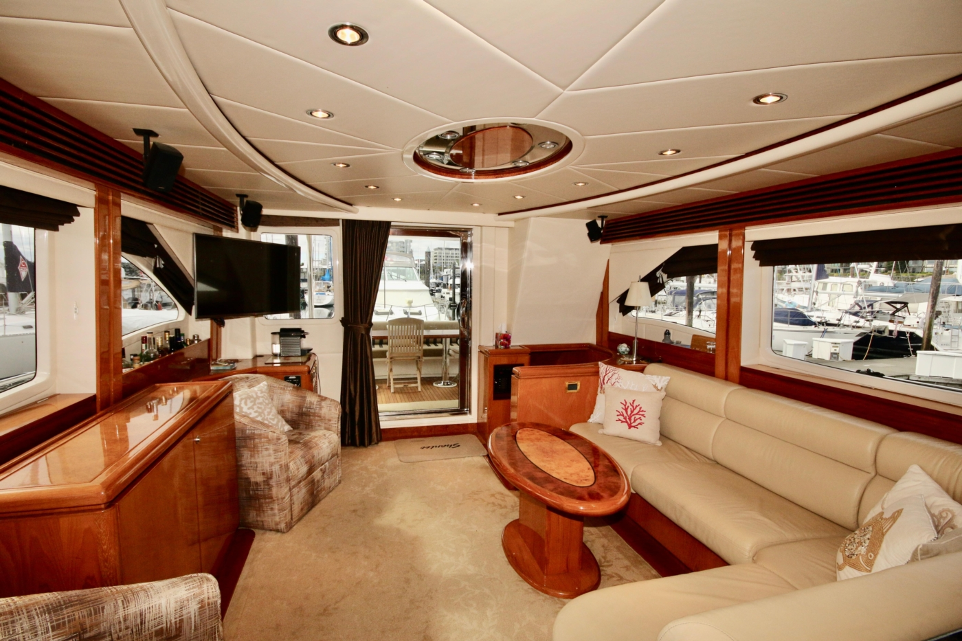 2002 Monte Fino 68, Looking Aft in the Salon