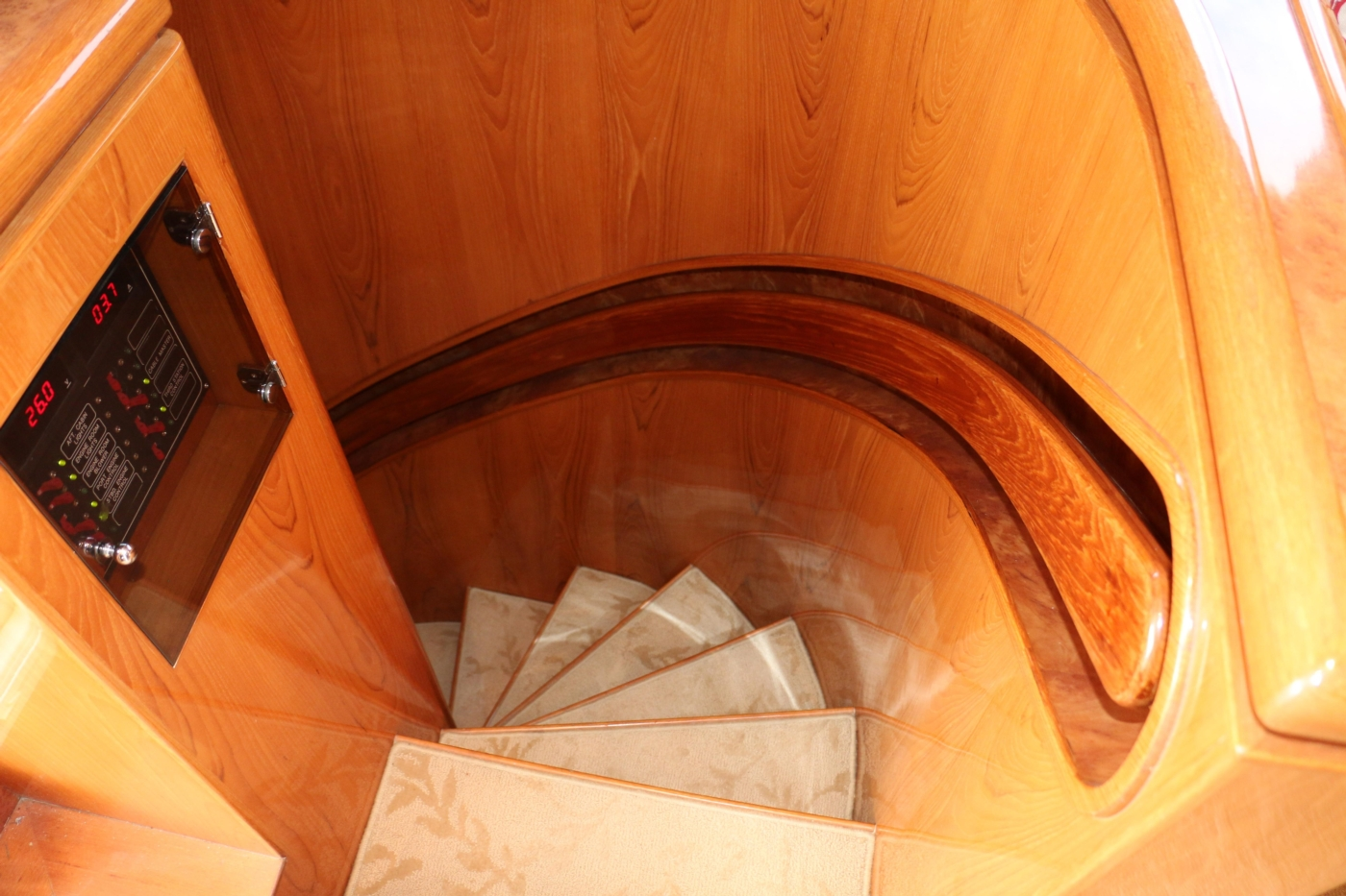 2002 Monte Fino 68, Aft Staircase from Salon