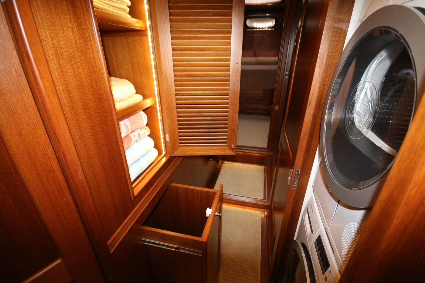 2015 Fleming 58 Pilothouse, Linen & laundry storage
