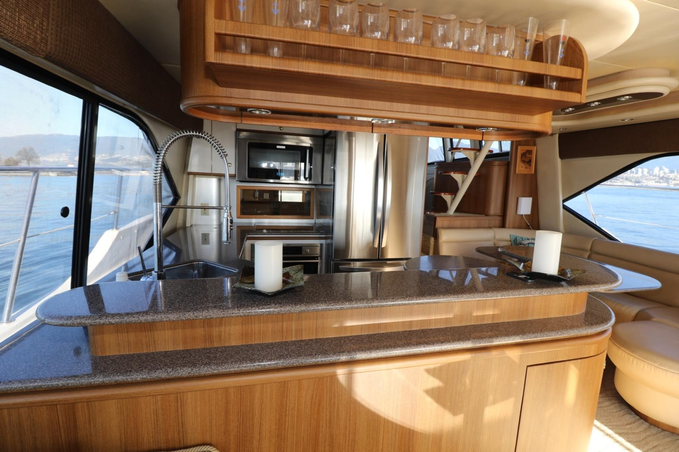 1999 Bayliner 5788 Pilot House Motoryacht, Galley Counter and Glass Storage