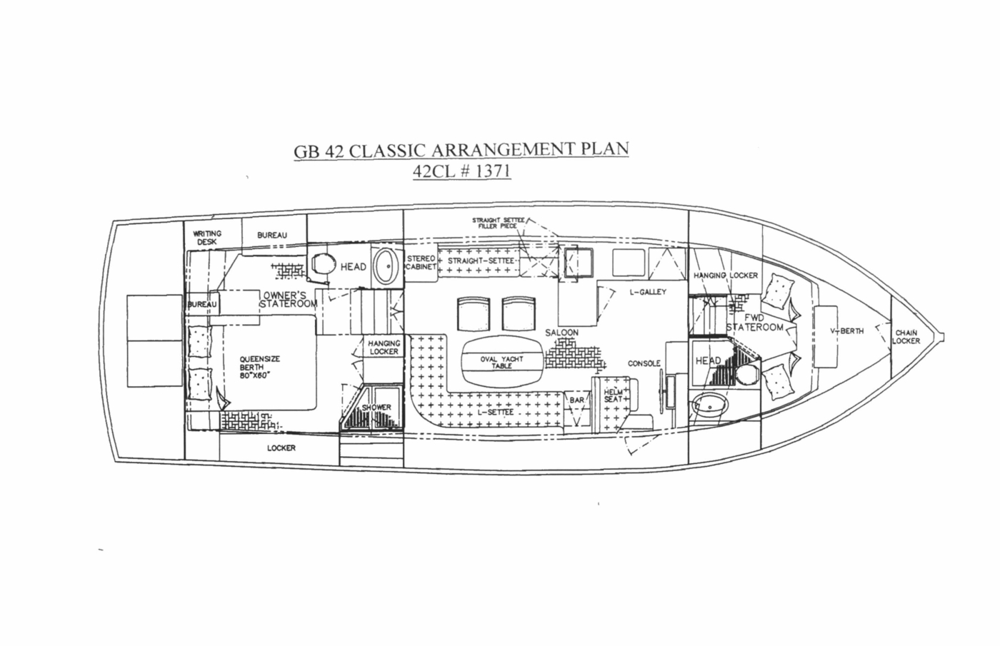1998 Grand Banks 42 Classic, Layout Plan