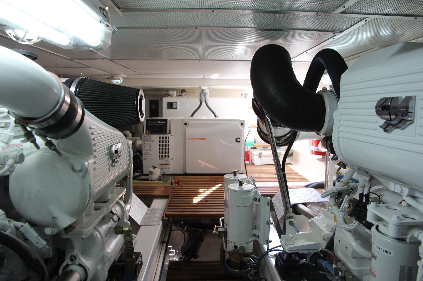2009 Grand Banks 47 Europa, Engine Room Looking Aft