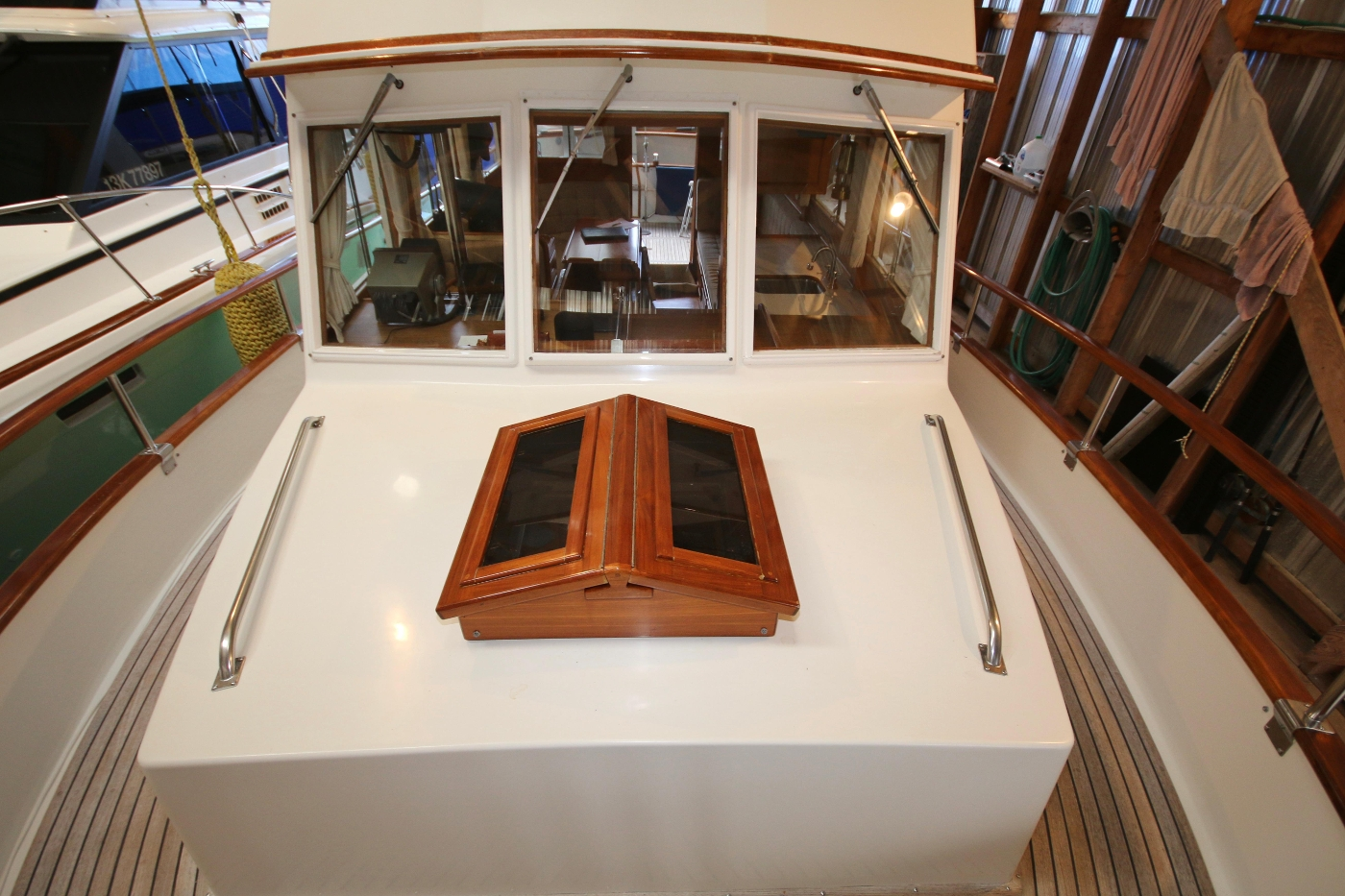 1988 Grand Banks 32, Classic Teak Hatch Cover on Cabin