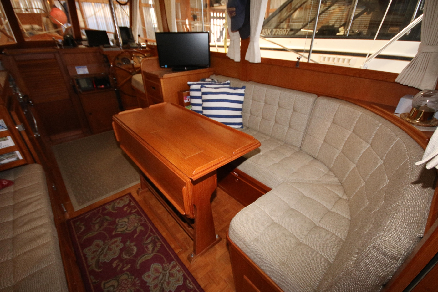 1988 Grand Banks 32, Starboard Settee and Folding Table