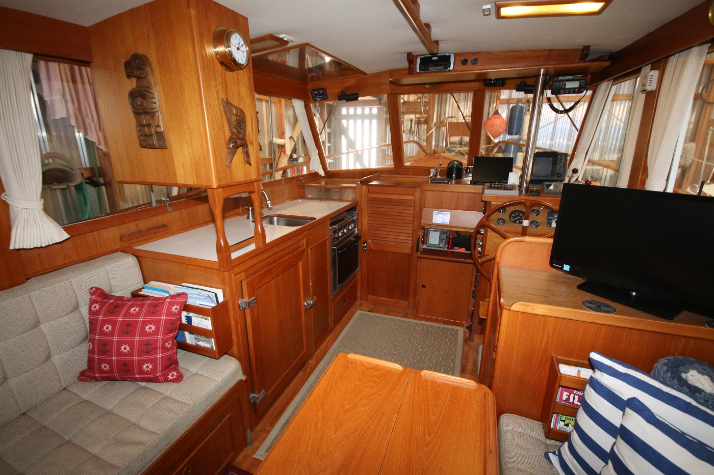 1988 Grand Banks 32, View forward to Galley