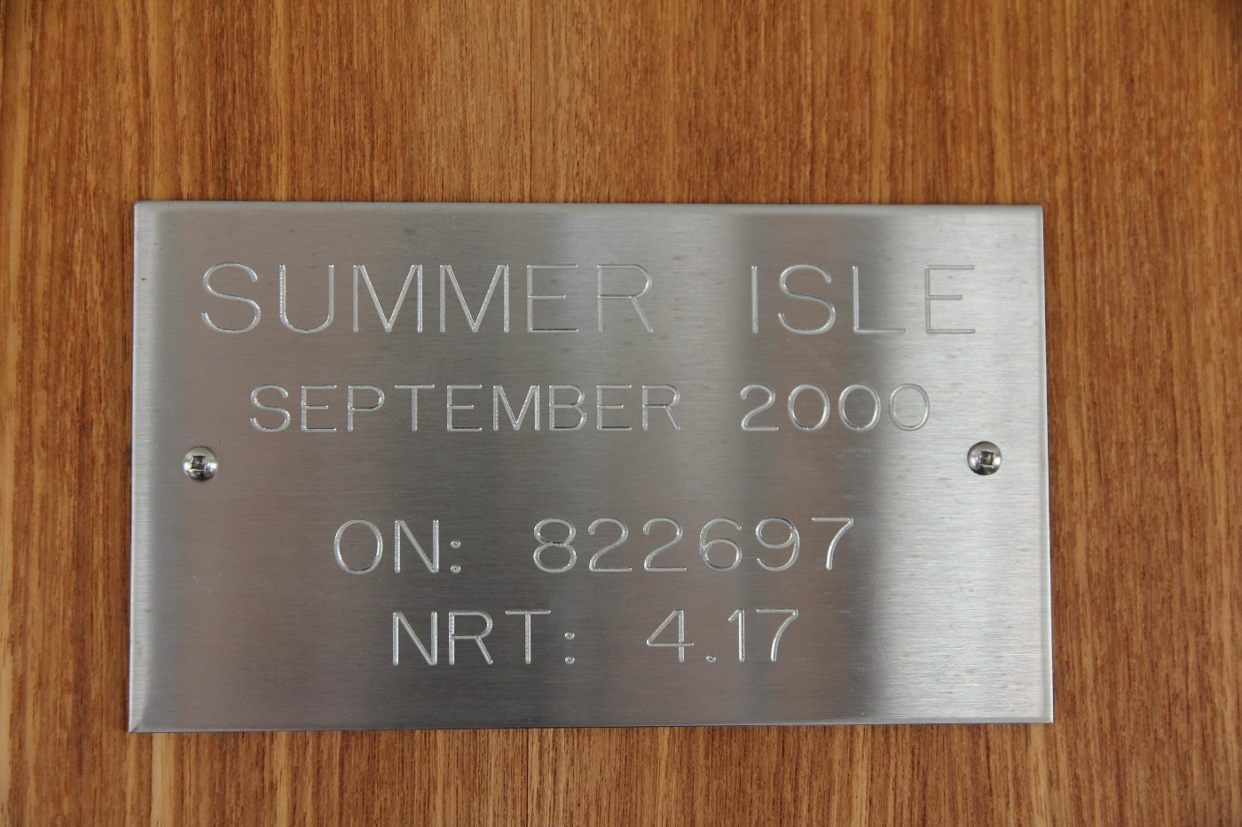 2001 Nordic Tugs 32 Pilothouse, Vessel Nameplate