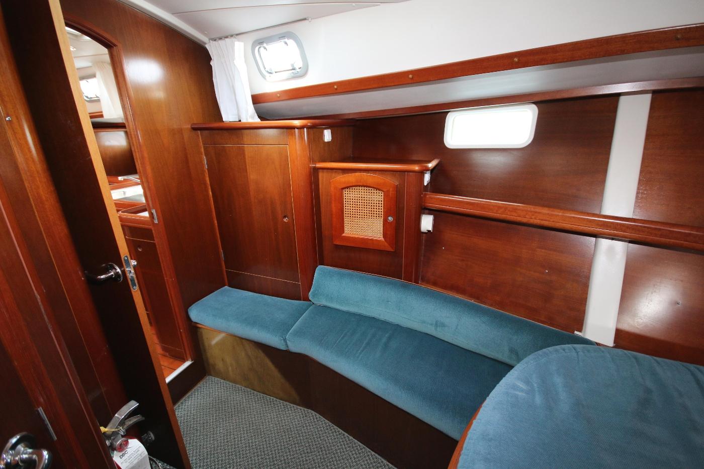 1997 Beneteau Oceanis 461, V-Berth settee & hanging locker