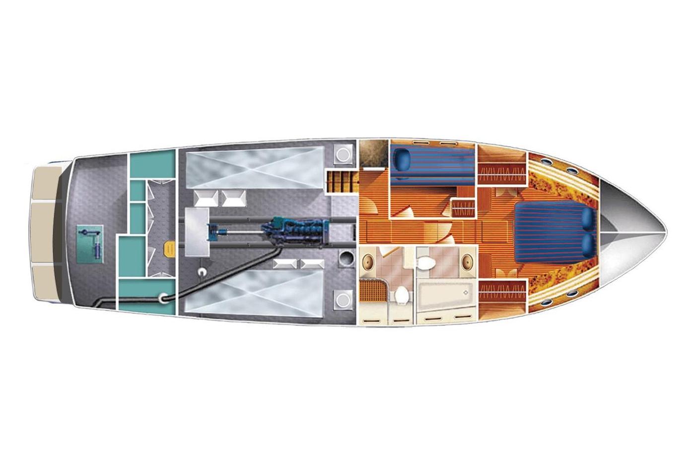 2011 Selene 45, Lower deck layout