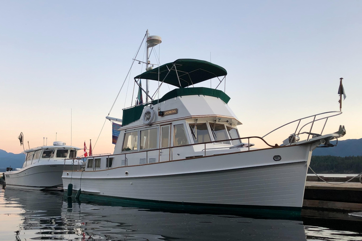 1995 Grand Banks 36 Classic, Sunset on the Dock