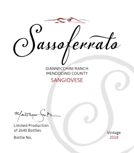 2018 Sassoferrato by Matt Smith Sangiovese Giannecchini Ranch Mendocino County