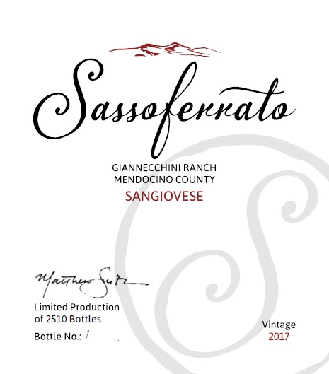 2017 Sassoferrato by Matt Smith Sangiovese Giannecchini Ranch Mendocino County