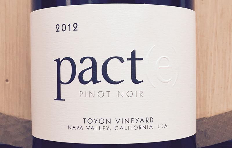2012 Pinot Noir Pact(e) Toyon Vineyard Napa Valley