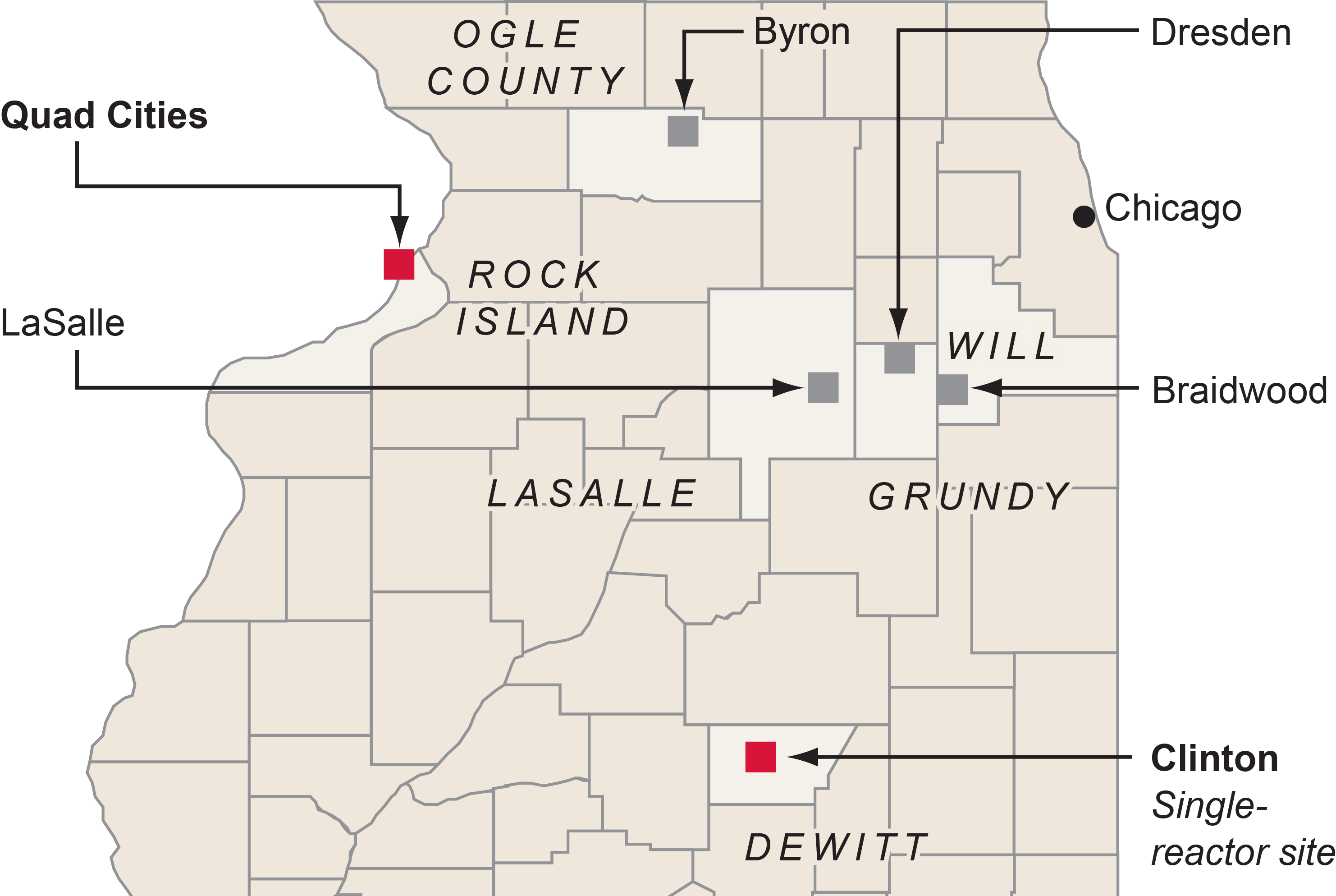 Map of Illinois nuclear plants