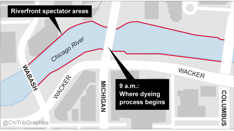 Map showing where dyeing of Chicago River will begin and where spectators can watch it