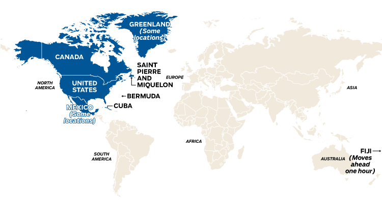 World map showing countries that change their clocks due to daylight saving time on Nov. 5