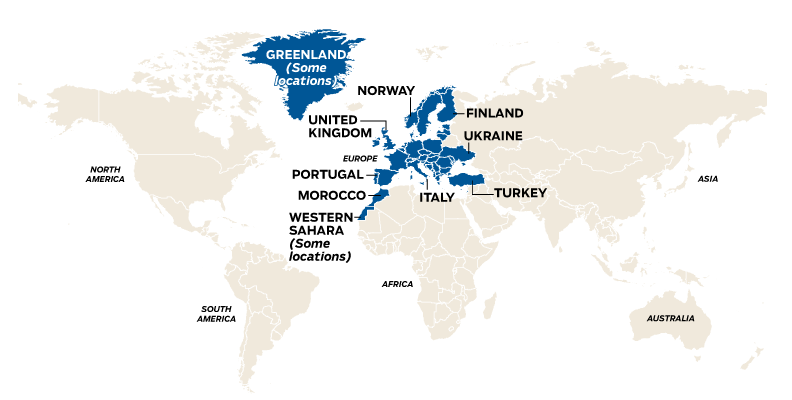 World map showing countries that change their clocks due to daylight saving time on Oct. 30