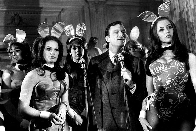 ac1f379f29e Hugh Hefner answers questions from prospective bunny candidates at the  Playboy mansion in Chicago in 1969. (Chicago Tribune historical photo)