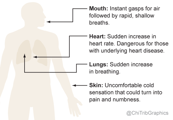 Body parts affected by immersion in cold water