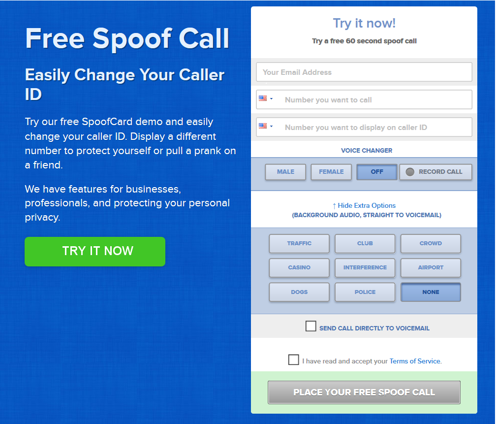 spoof caller id free iphone