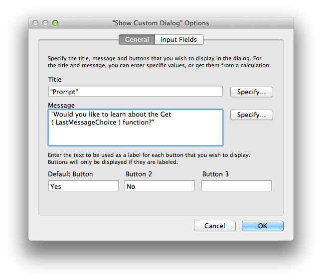 The Show Custom Dialog options window.