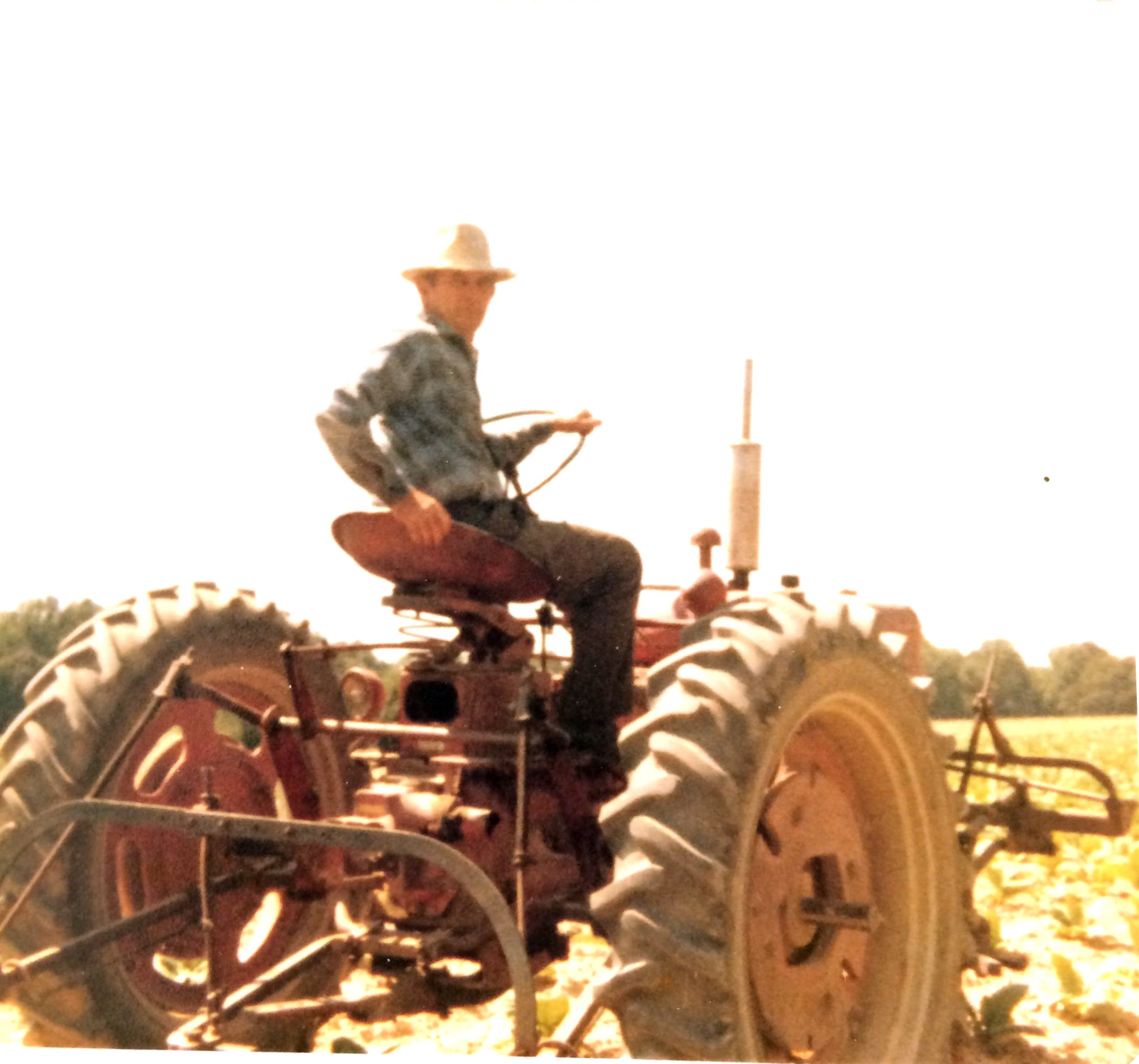 James Jr. cultivating tobacco circa 1978.