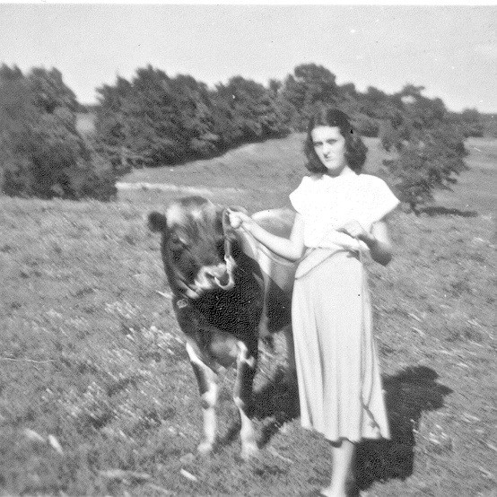 Barry's mom, Patsy, with a 4-H heifer