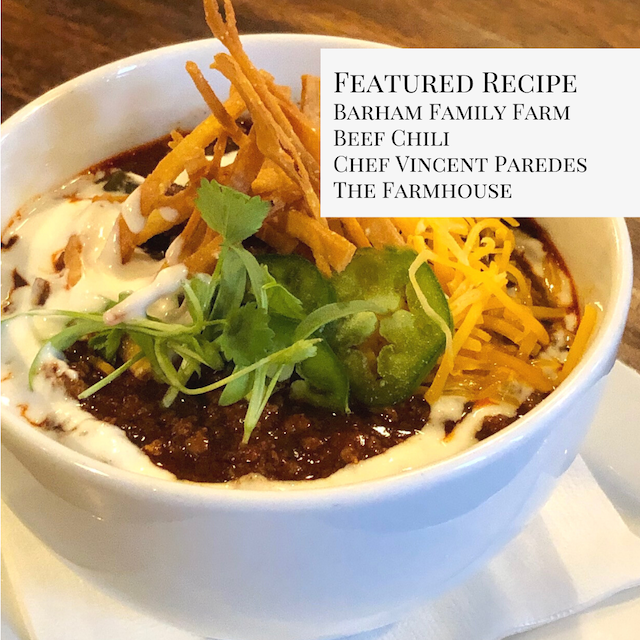 The Farmhouse Beef Chili with Barham Family Farm Ground Beef and Soup Bones