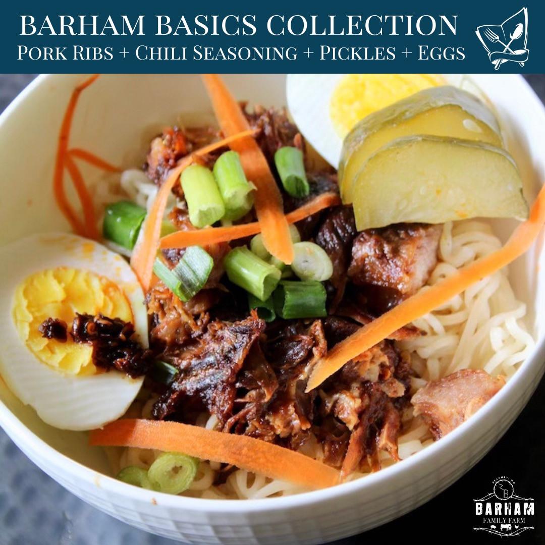 Barham Basics: Pork Ribs + Chili Seasoning + Pickles + Eggs