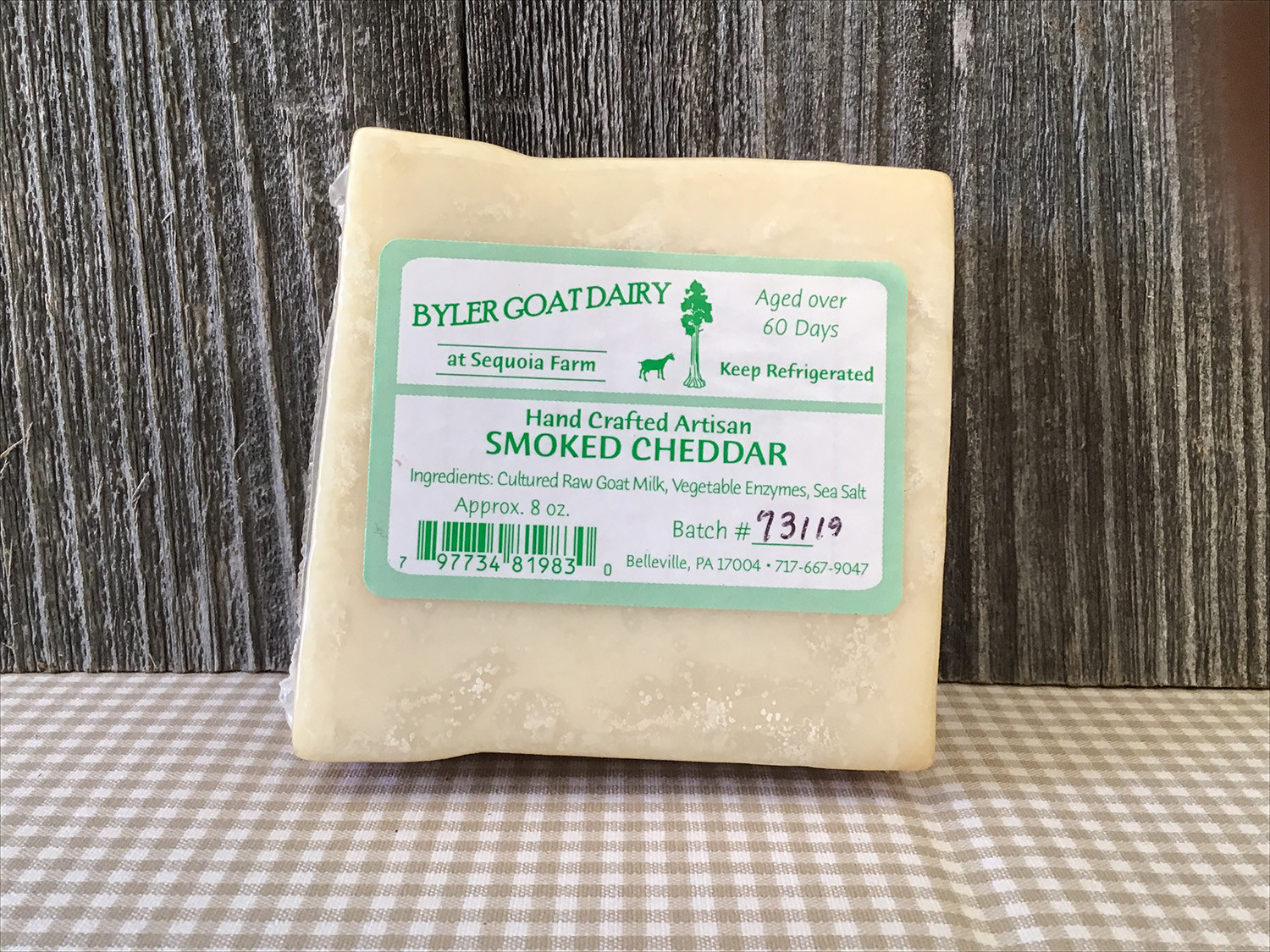 8 Ounces - Goat Smoked Cheddar Cheese