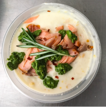 Corn Chowder with Smoked Shrimp, Scallops, and Salmon with Kimchi Aioli, 16 oz