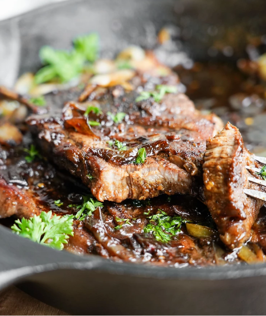 1-Pan Juicy Pork Steaks + Clean Teriyaki Sauce Glaze