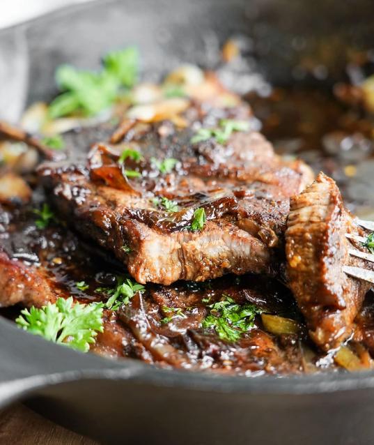 1-Pan Juicy Pork Steaks + Clean Teriyaki Sauce Glaze