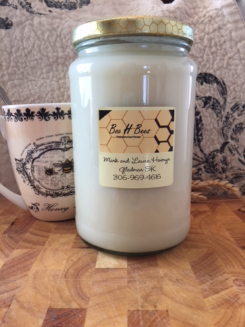 Large glass jar creamed honey