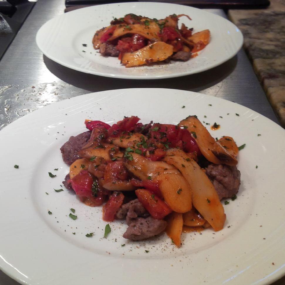 Sirloin Steak (Trimmings) with Mushrooms