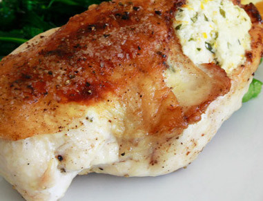Bone-In Chicken Breasts Stuffed with herbs and Goat Cheese