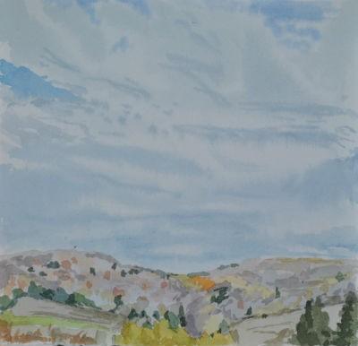 Original Framed Watercolor - Trifold Sky