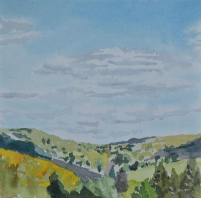 Original Framed Watercolor - Shadows on the Ridge