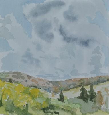Original Framed Watercolor - High Clouds
