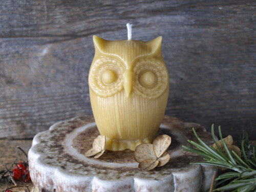 Owl Candle - natural