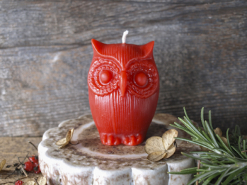 Owl Candle - red