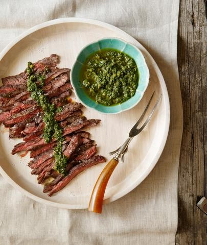 Skirt Steak with Harissa and Chimichurri